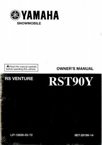 Official 2009 Yamaha RST90 RS Venture Snowmobile Owners Manual