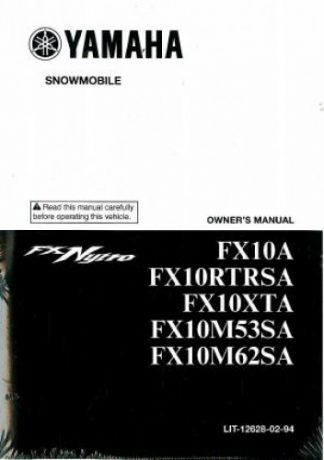 Official 2011 Yamaha FX Nytro FX10 Snowmobile Factory Owners Manual