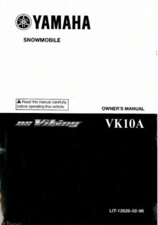Official 2011 Yamaha VK Professional VK10AB/AW Snowmobile Factory Owners Manual