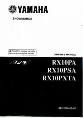 Official 2011 Yamaha Apex RX10P Snowmobile Factory Owners Manual