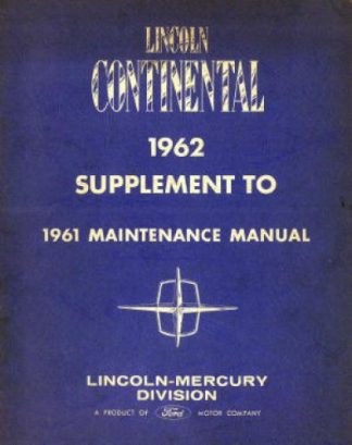 Used 1962 Lincoln Continental Service Manual Supplement