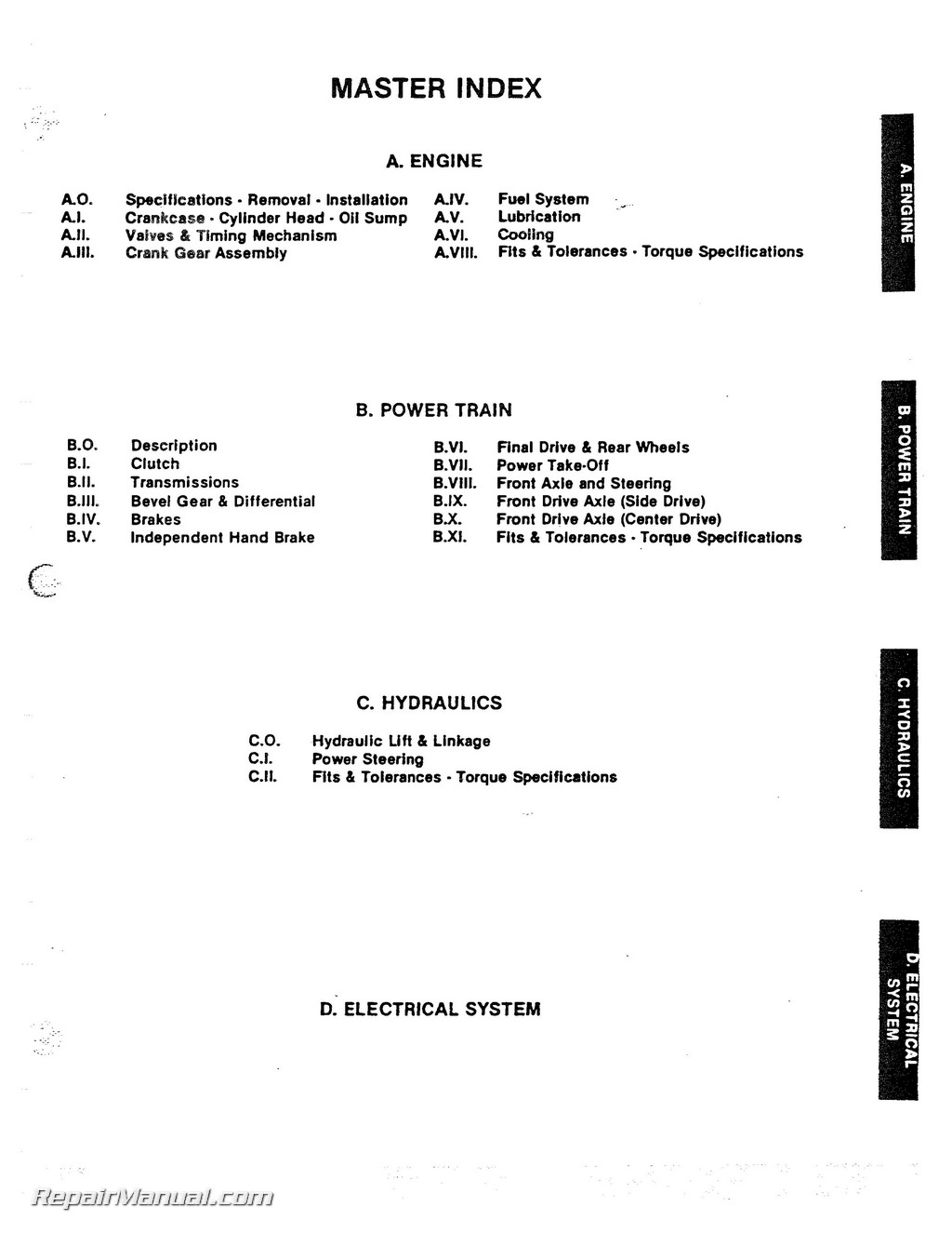 Long Series Tractor Service Manual Page