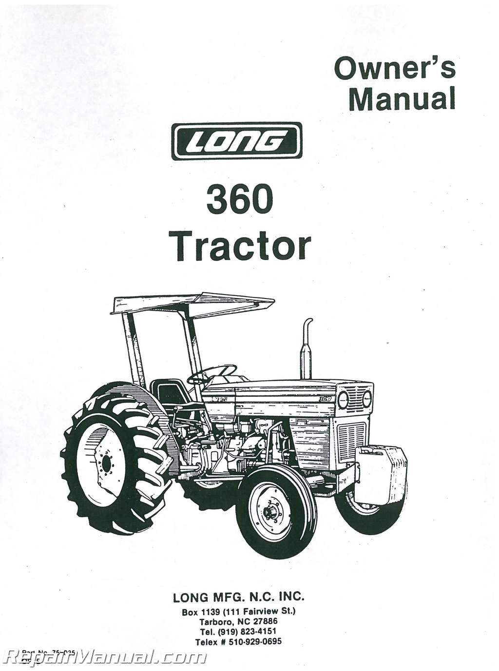long 360 diesel tractor operators manual