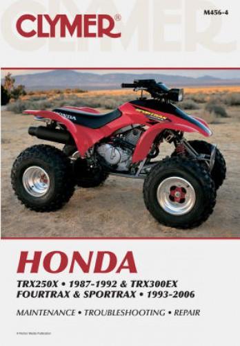 honda trx250x 1987 1988 1991 1992 trx300ex 1993 2006 clymer atv rh repairmanual com 1987 honda trx250x parts manual 1987 honda trx250x owners manual