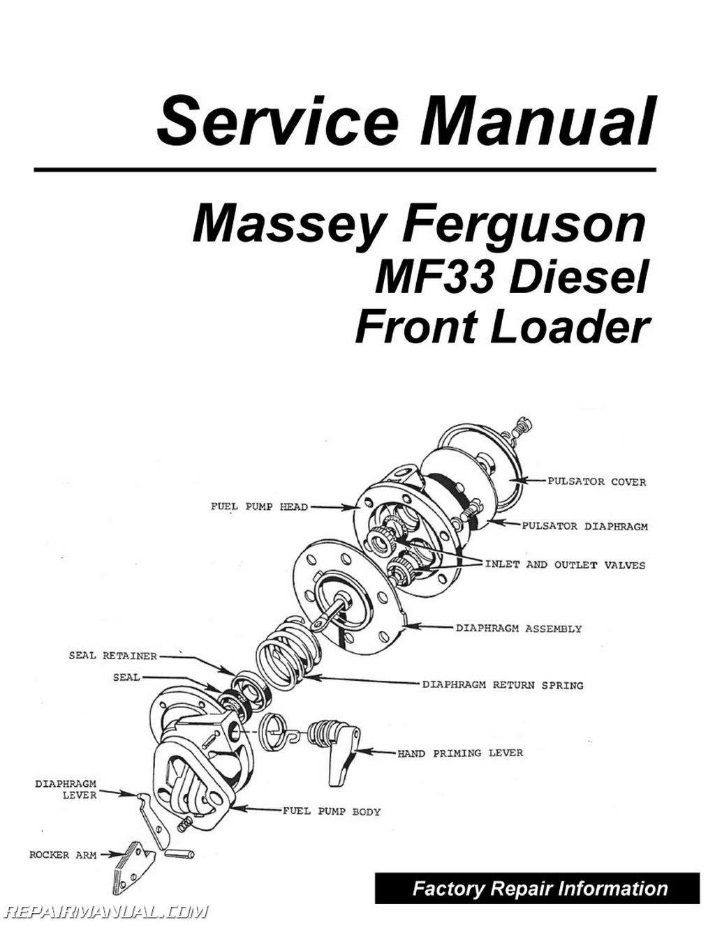 Massey Ferguson MF33 DSL Front Loader Service Manual Table of Contents