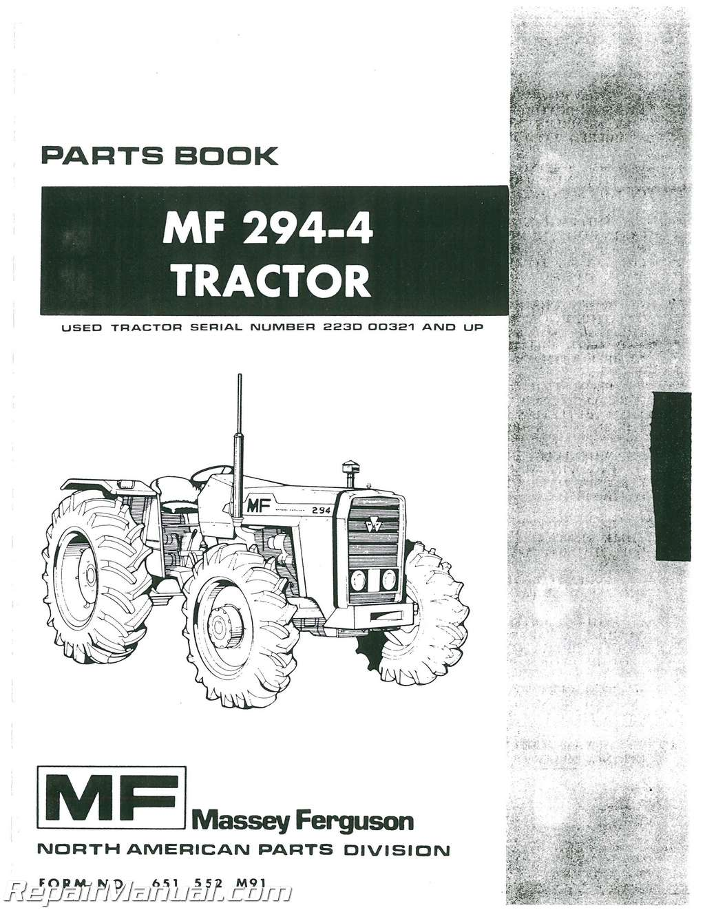 Massey Ferguson 294-4 Diesel Tractor Parts Manual