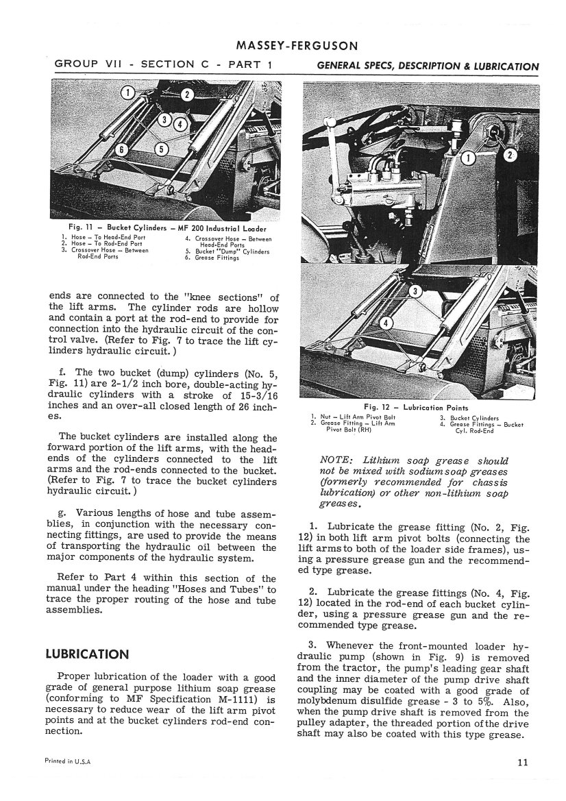 massey ferguson 175 diesel wiring diagram massey ferguson mf100 mf200 loader service manual - 800 ... #7