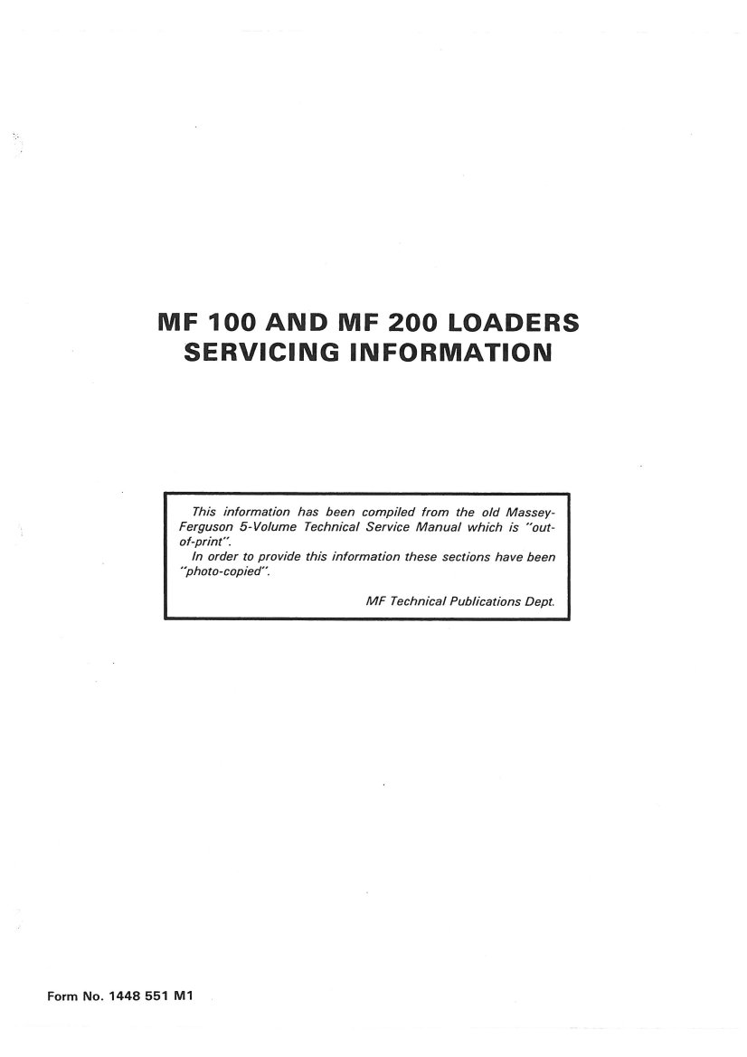 mf 65 wiring diagram massey ferguson mf100 mf200 loader service manual  massey ferguson mf100 mf200 loader