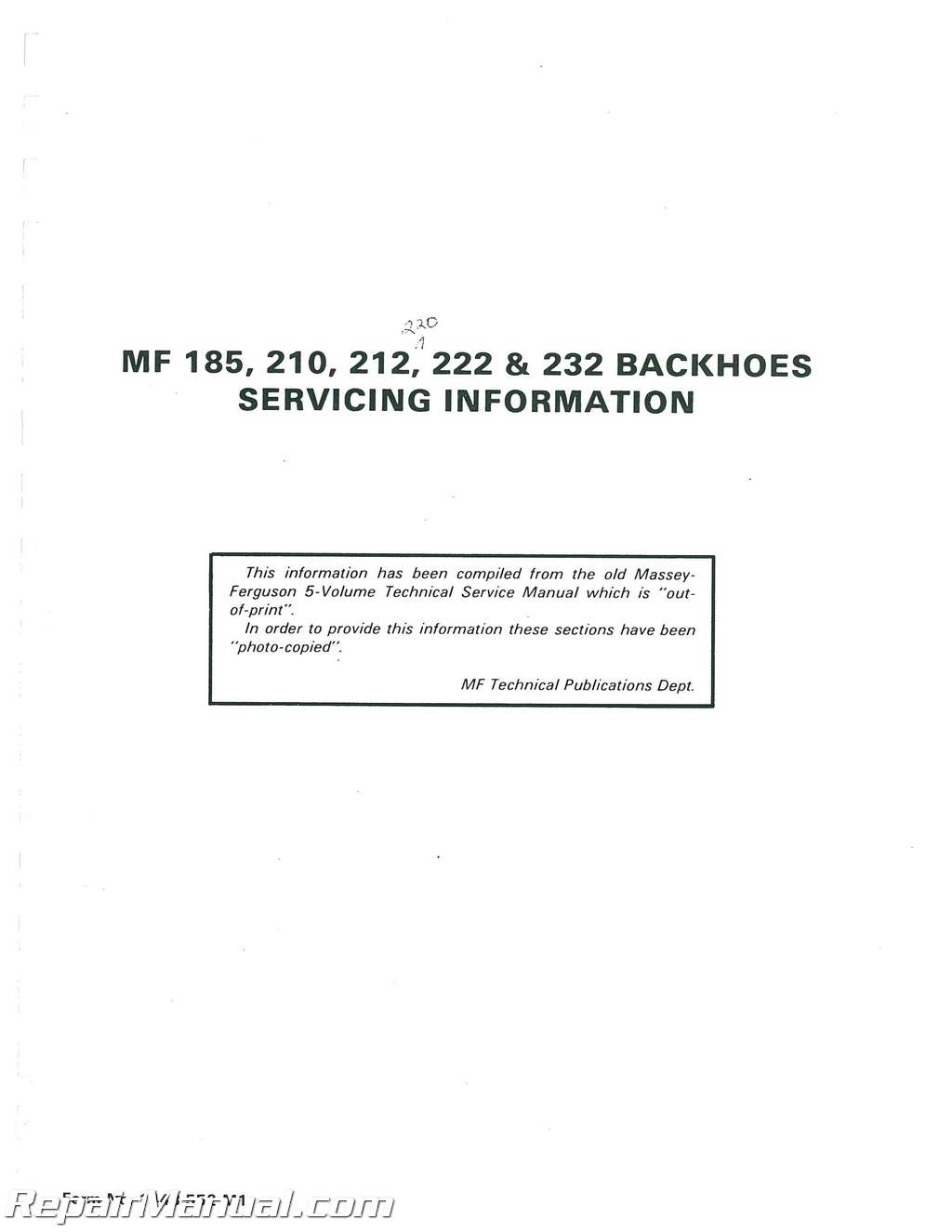 massey ferguson 185 service manual