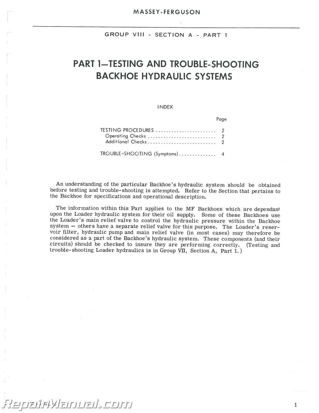 Massey Ferguson MF185 MF210 MF220 MF222 MF232 MF325 Backhoe Attachment Service  Manual