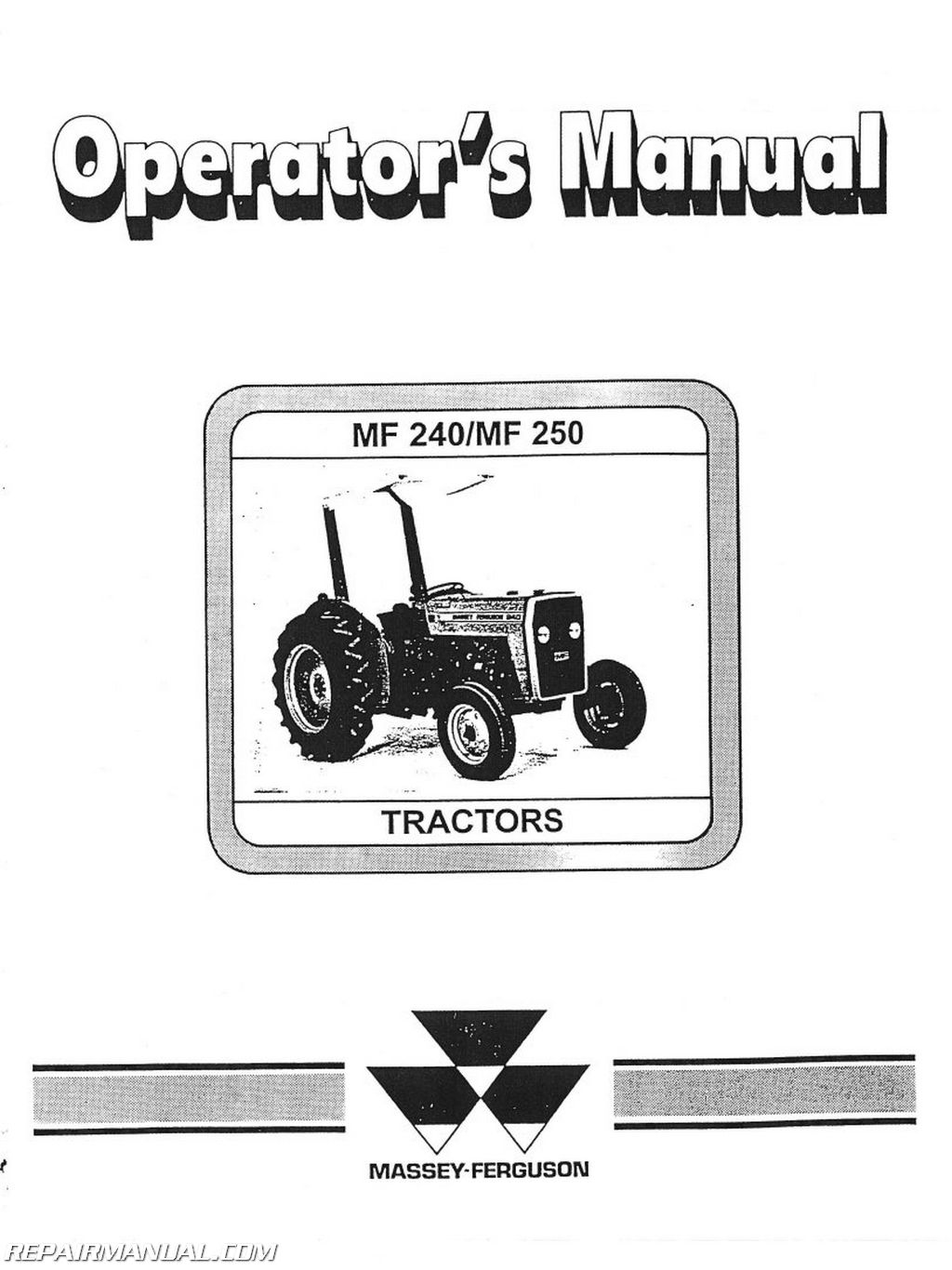 Mey Ferguson MF240 and 250 Operators Manual on