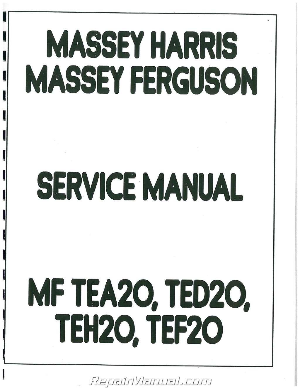 massey ferguson tea 20 ted 20 tractor service manual rh repairmanual com User Manual PDF Service Manuals
