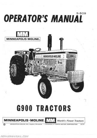 Minneapolis Moline MPLS MOLINE G 900 S509 Owners Manual 324x458 minneapolis moline tractor manuals repair manuals online