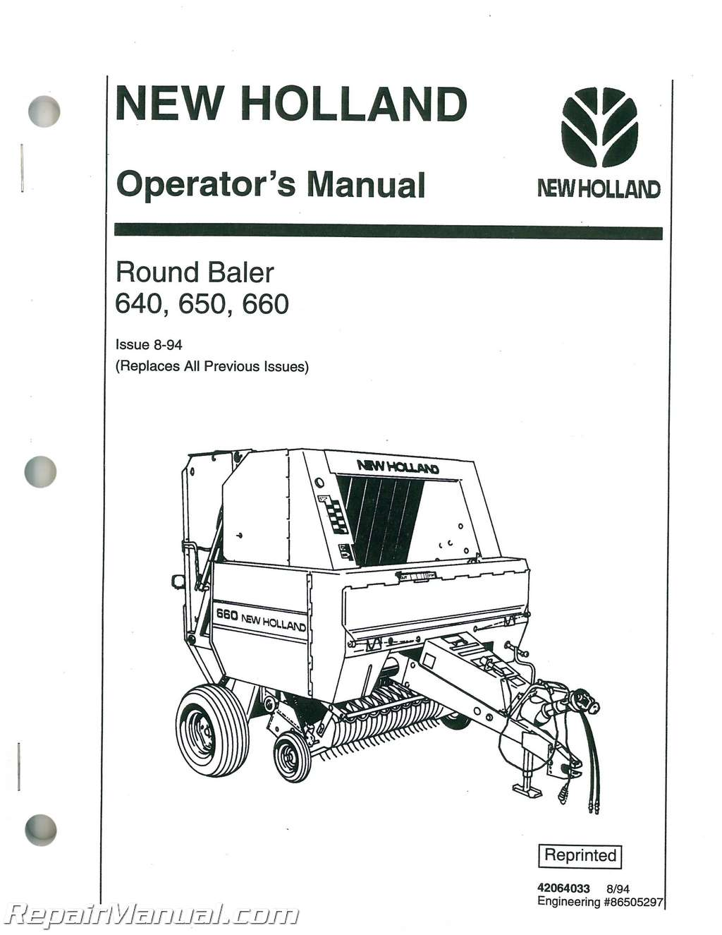 new holland 640 650 660 large round baler operators manual rh repairmanual com new holland manuals on ebay new holland manuals br750 free download