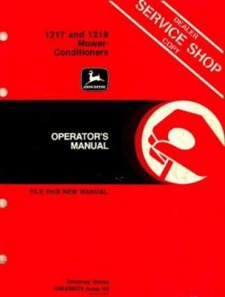 John Deere 1217 1219 Mower Conditioners Operators Manual