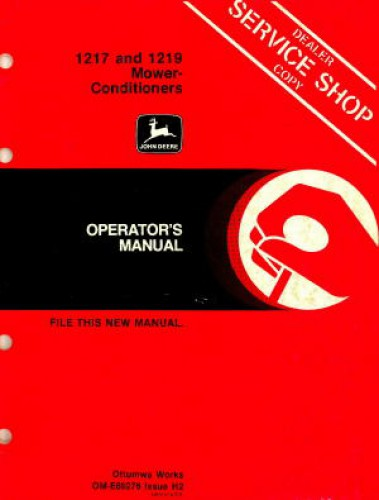 Deere 1217 1219 Mower Conditioners Operators Manual