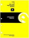 Used John Deere 215G And 225G High Pressure Washers Operators Manual