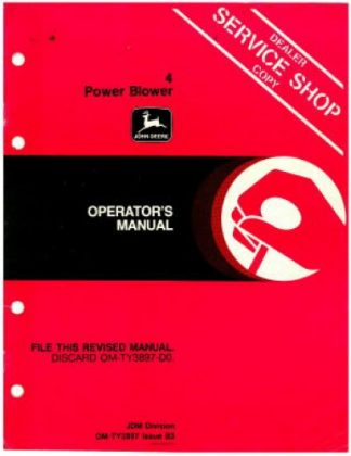 Used John Deere 4 Power Blower Operator Manual