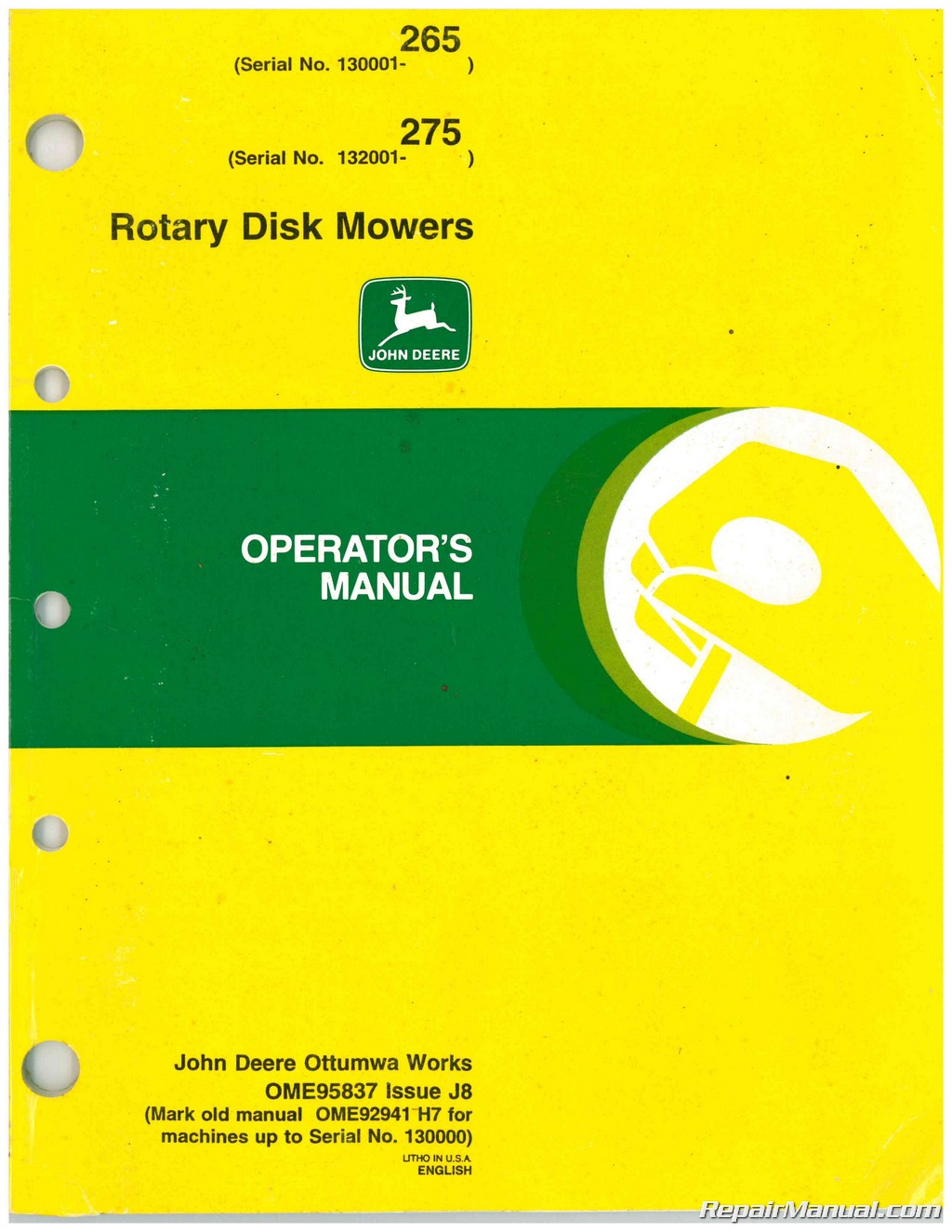 john deere 265 275 rotary disk mowers operators manual rh repairmanual com john deere a parts manual pdf john deere repair manuals online free