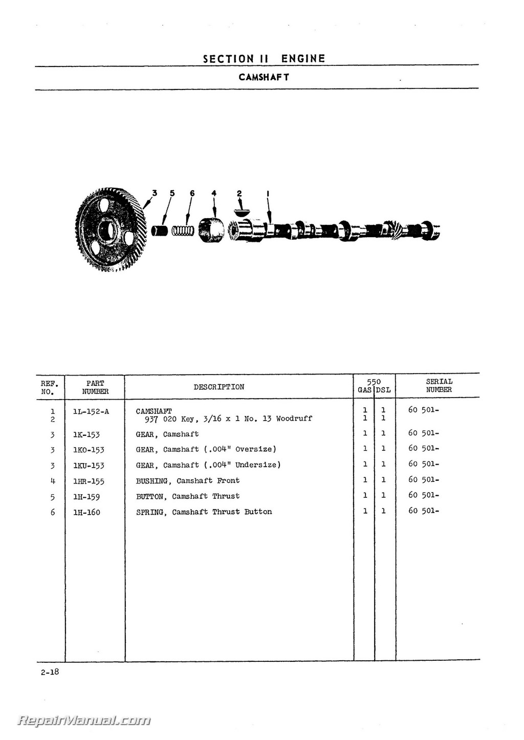 Oliver 550 Tractor Parts Manual Long Engine Diagrams