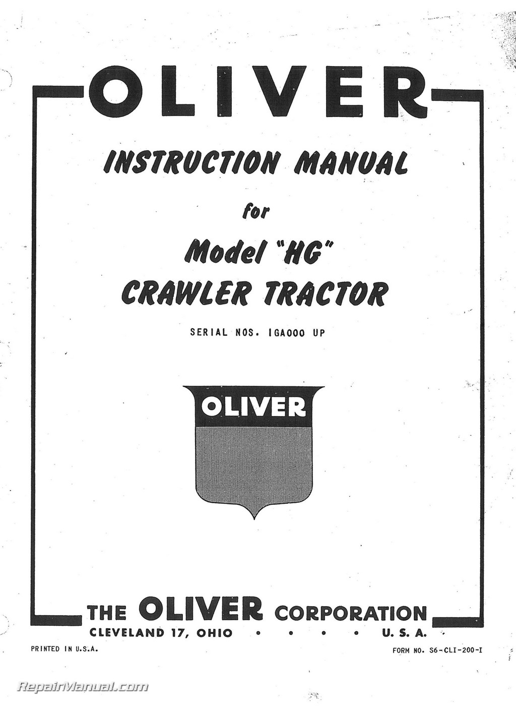 Oliver Cletrac HG Tractor Instruction Manual on
