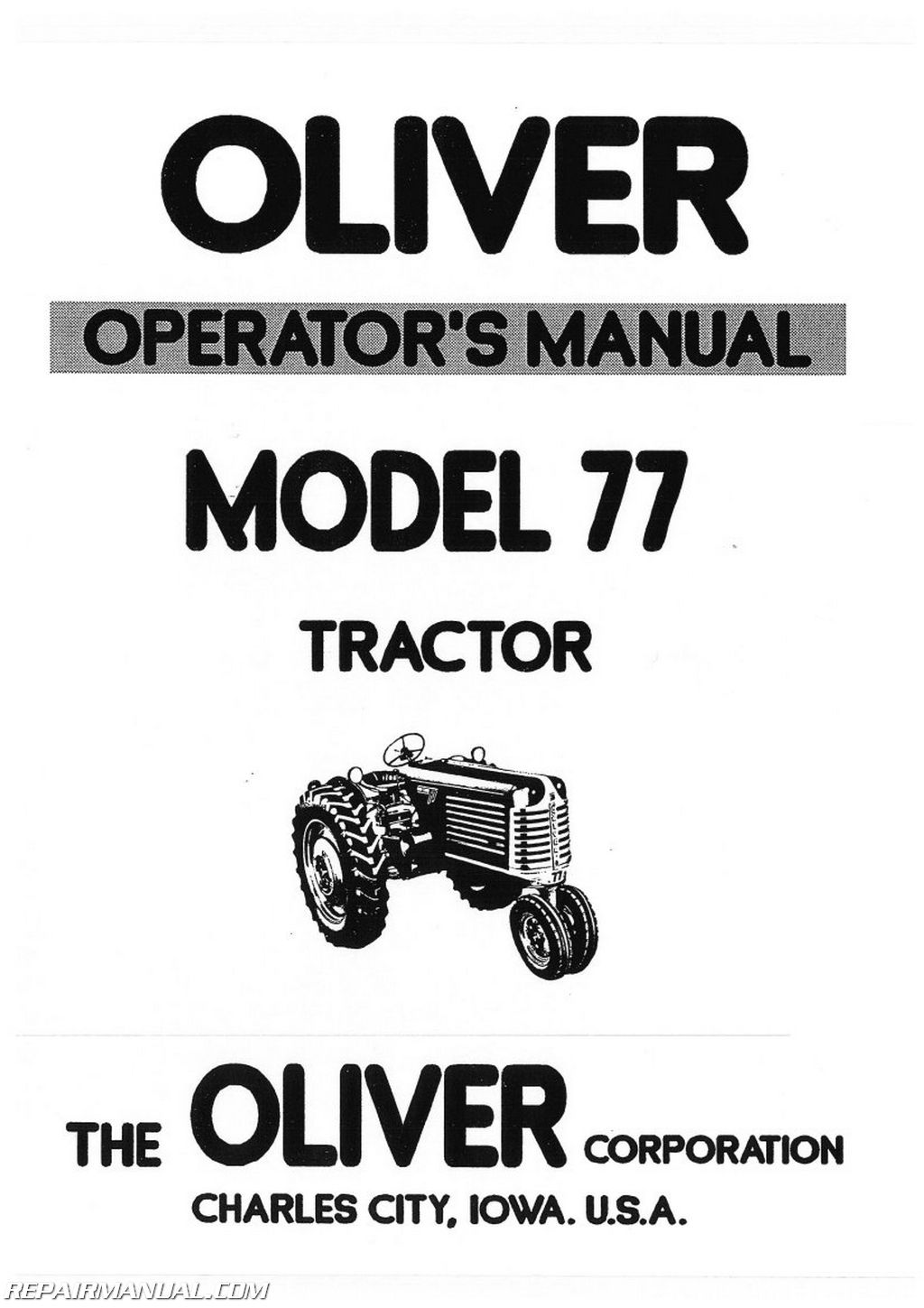 Oliver Model 77 Gd Operators Manual