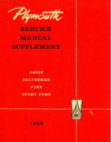 Used 1959 Plymouth Savoy Belvedere Fury Sport Fury Service Manual Supplement
