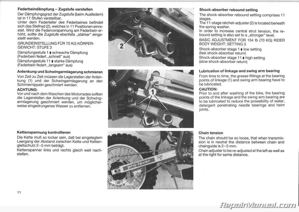 1986 Ktm 125 Gs Mx Mxc Motorcycle Owners Repair Manual