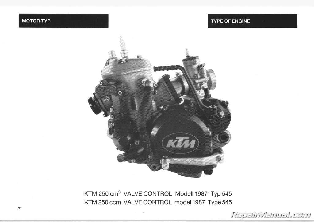 1987 Ktm 250 Mx Enduro Motorcycle Owners Repair Manual