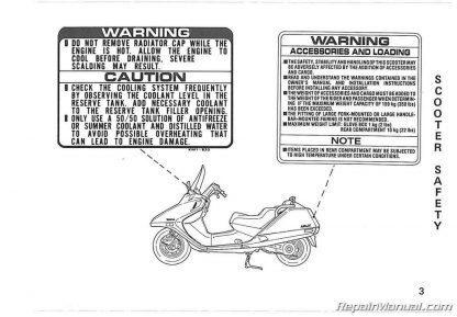 1987 Honda CN250 Helix Scooter Owners Manual