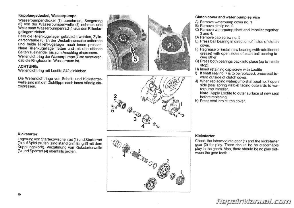 1988 ktm 350iii 500iii motorcycle engine repair manual