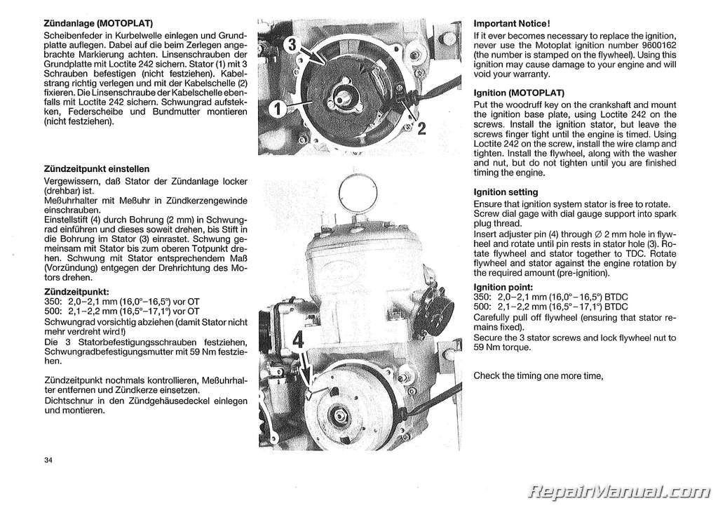 1988 Ktm 350iii 500iii Motorcycle Engine Repair Manual