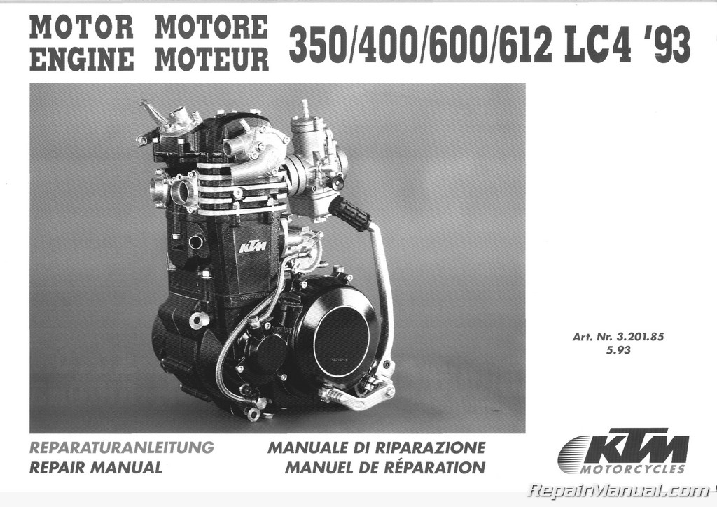 1993 1995 ktm 350 400 600 612 620 lc4 motorcycle engine repair manual rh repairmanual com ktm lc4 620 manual ktm lc4 workshop manual pdf