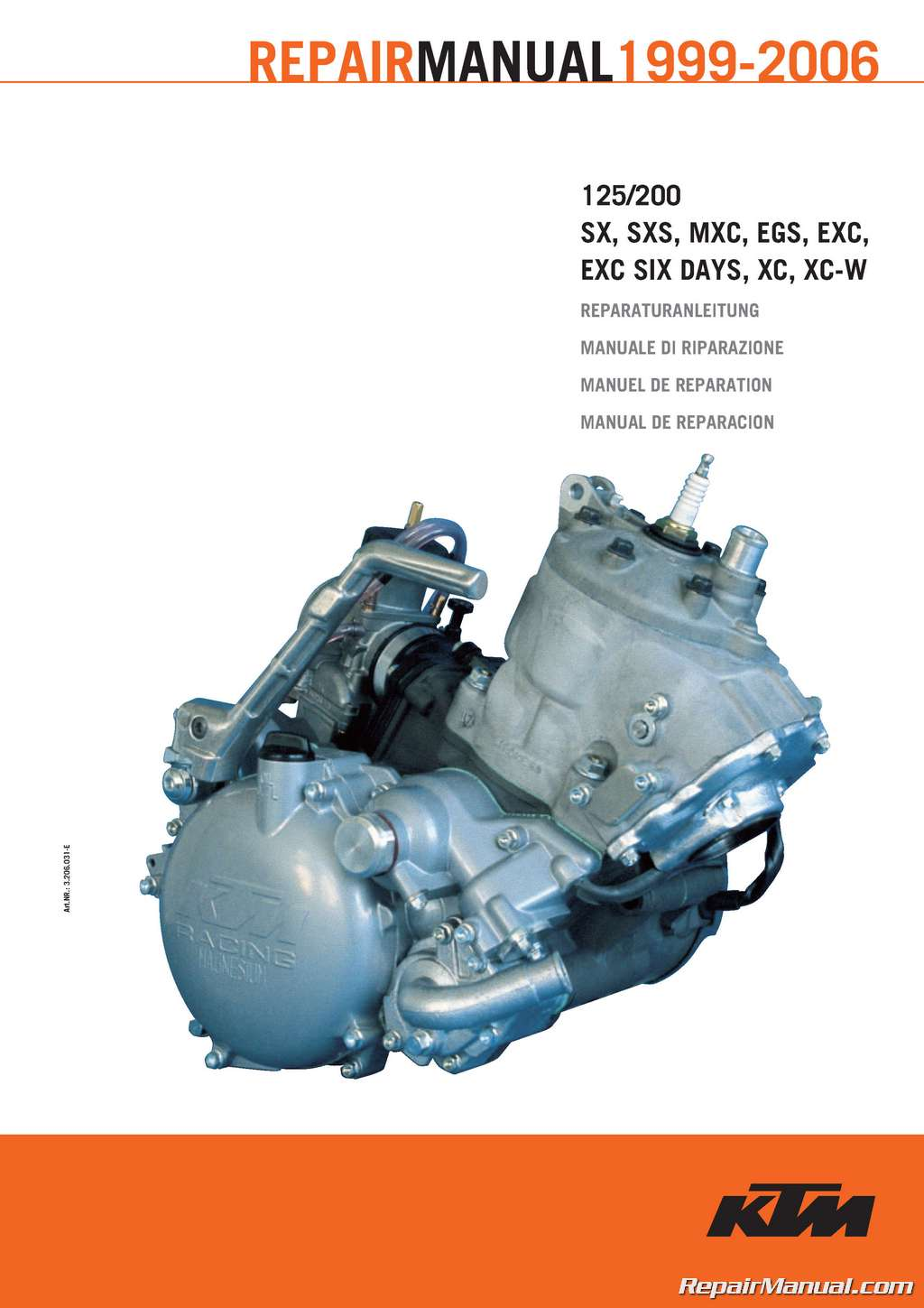1999 – 2006 ktm 125 200 two stroke motorcycle engine printed
