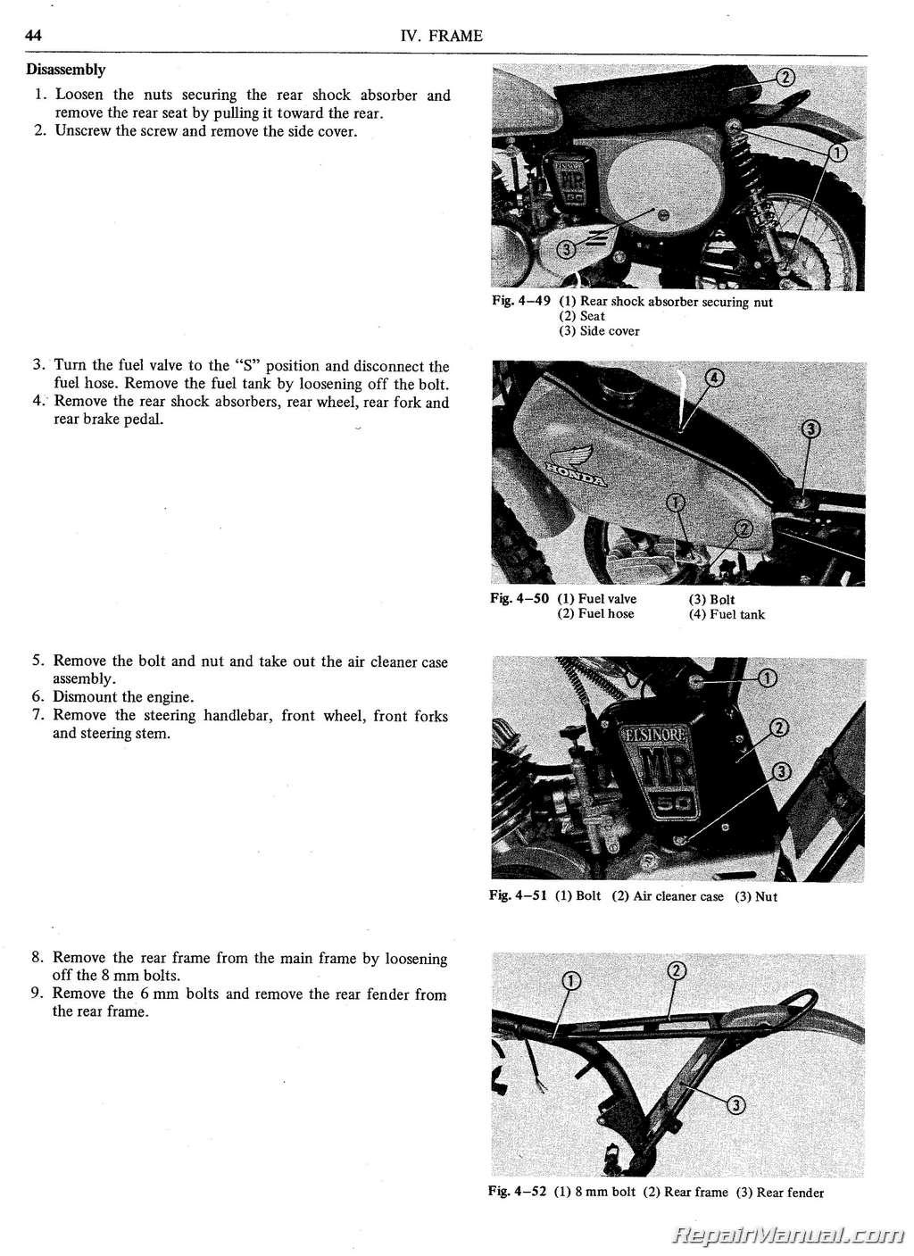 Honda MR Motorcycle Service Manual  Parts Manual - 1977 honda odyssey fl250 wiring diagram