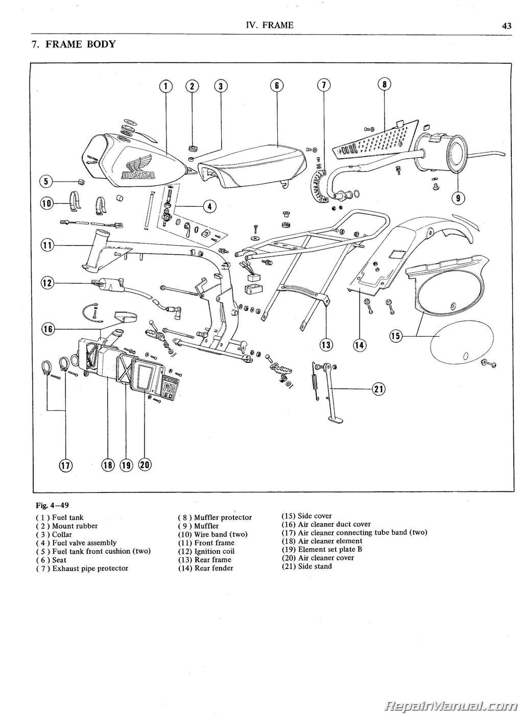 Honda Mr50 Motorcycle Service Manual  U0026 Parts Manual 1974
