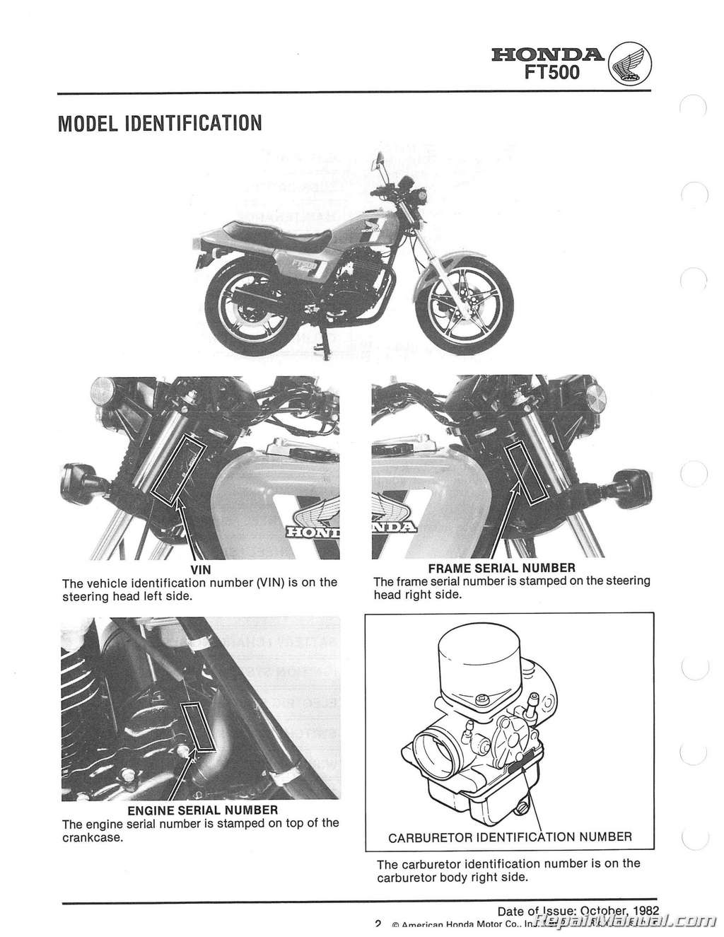 1982 1983 honda ft500 ascot motorcycle service manual rh repairmanual com 1985 honda shadow vt500 service manual honda vt 500 service manual pdf
