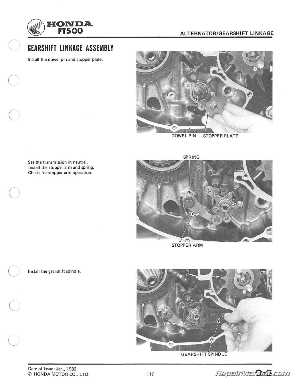1982 1983 Honda Ft500 Ascot Motorcycle Service Manual Motor Diagram
