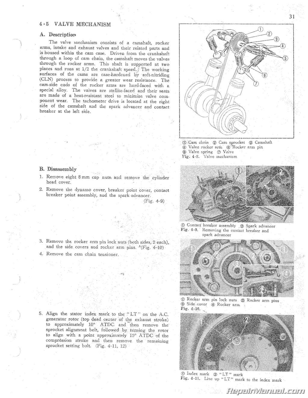 1968 1973 honda cb cl 250 cb cl sl350 motorcycle shop manualHonda Motorcycle Parts 1968 Cb350k4 A Camshaft Valve Diagram #21