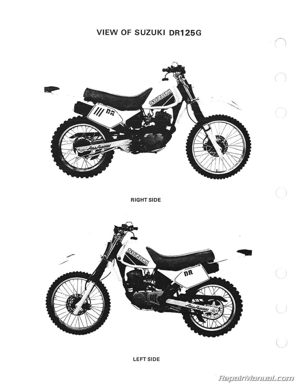 1986 1987 1988 suzuki dr125 sp125 motorcycle service manual rh repairmanual com Suzuki DR200 suzuki dr 125 service manual free download