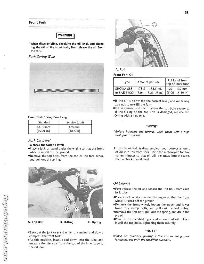 1985 Kawasaki Kx60 Motorcycle Owners Service Manual