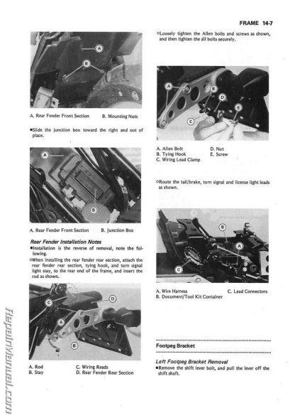 1986 - 2007 Kawasaki EX250 Ninja EL250 Eliminator Service Manual