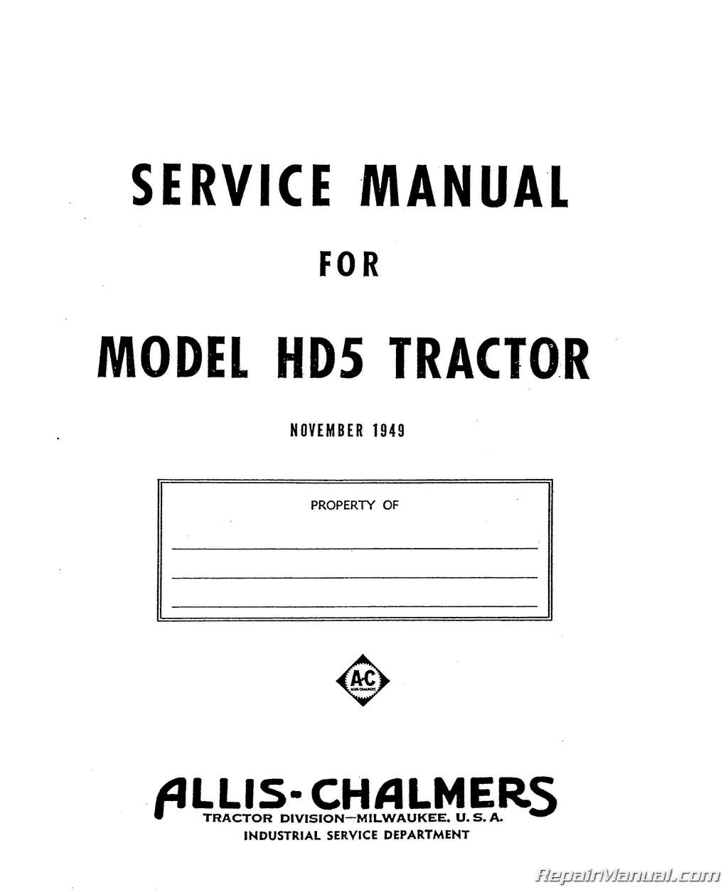 Allis Chalmers Hd 5 Wiring Diagram 34 Images For Ca Pages From Js Ac S Hd5 2 Tractor Manuals Repair Online