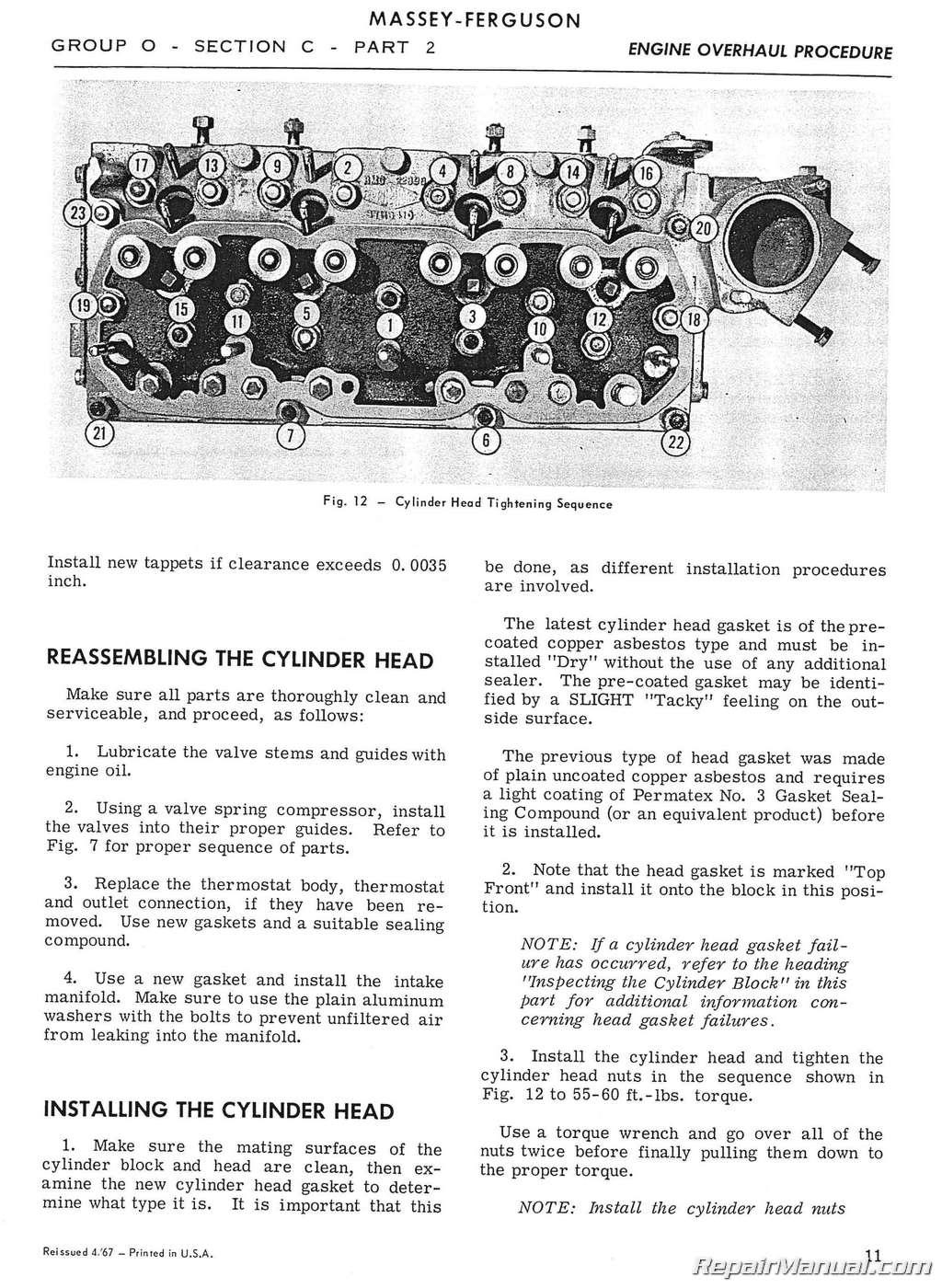 Massey Ferguson MF 302 MF 304 Tractor MF 320 Backhoe Service ManualRepair Manuals Online
