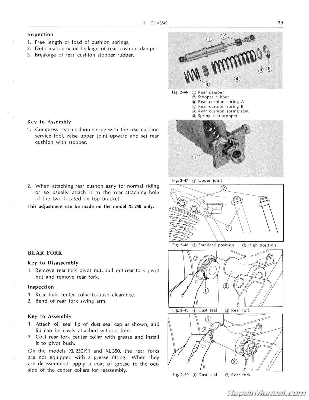 Honda XL250 XL350 Motorcycle Service Manual 1972 – 1978