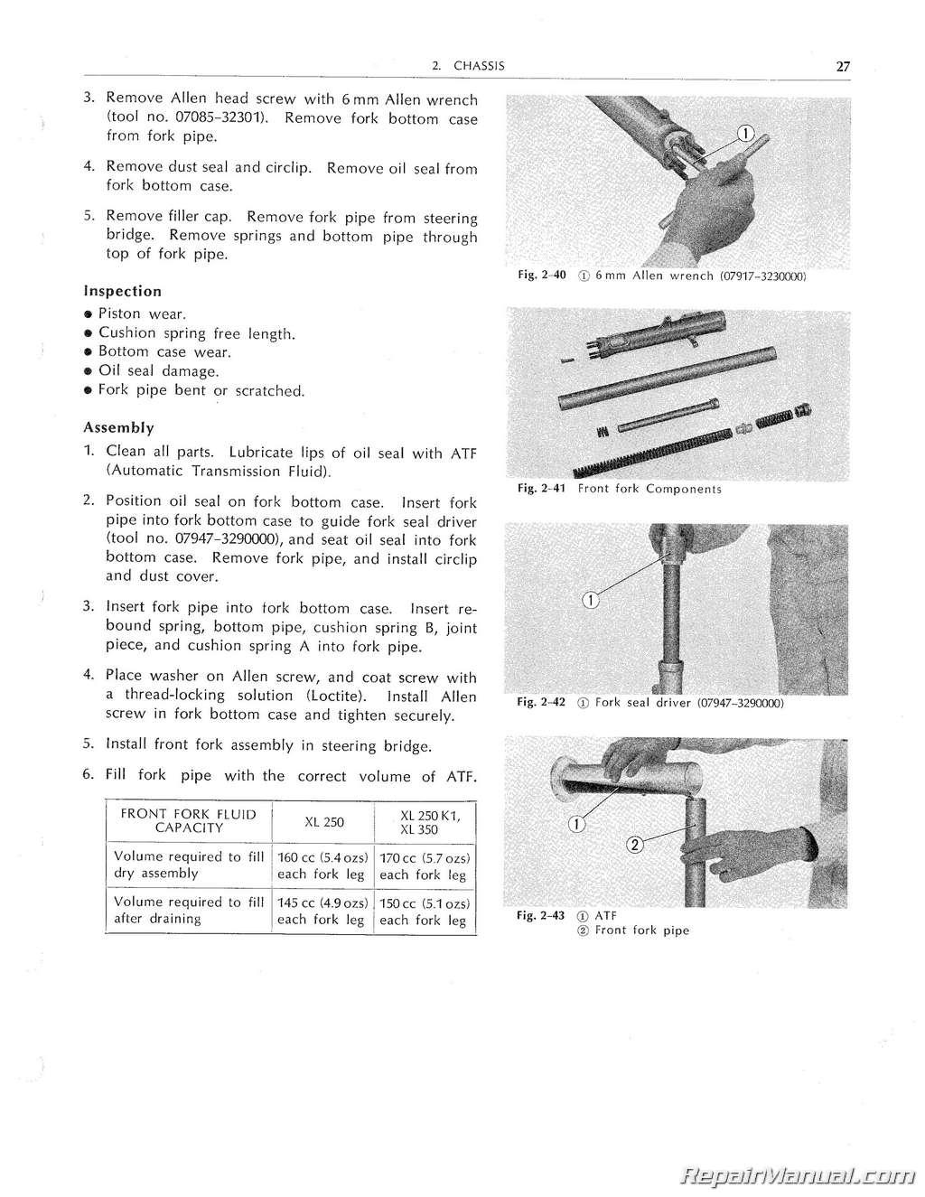 Honda Xl250 Xl350 Motorcycle Service Manual 1972 1978 1975 75 Schematics