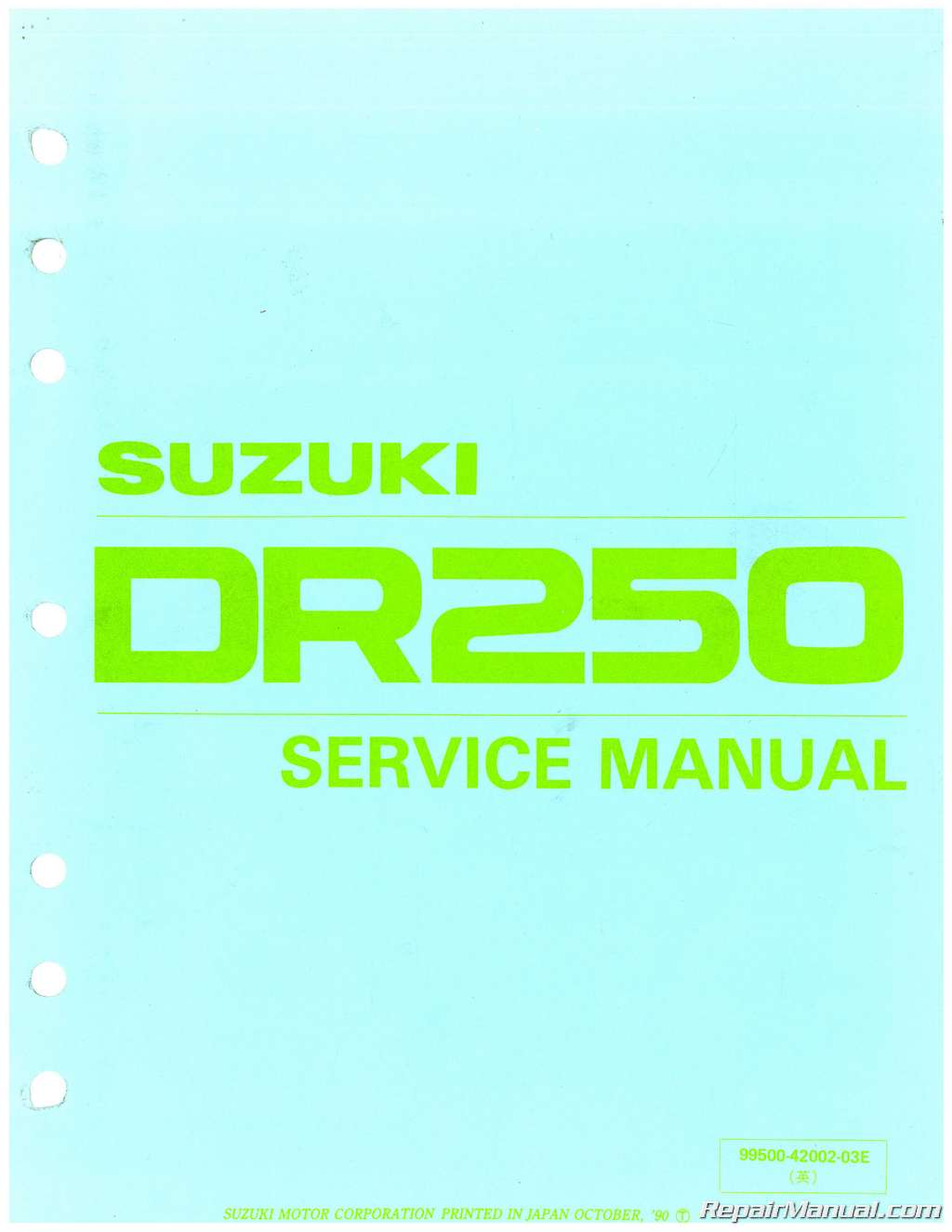 1982 1985 suzuki dr250 sp250 motorcycle service manual rh repairmanual com Honda 6 Cylinder Motorcycle Kawasaki Parts Manual