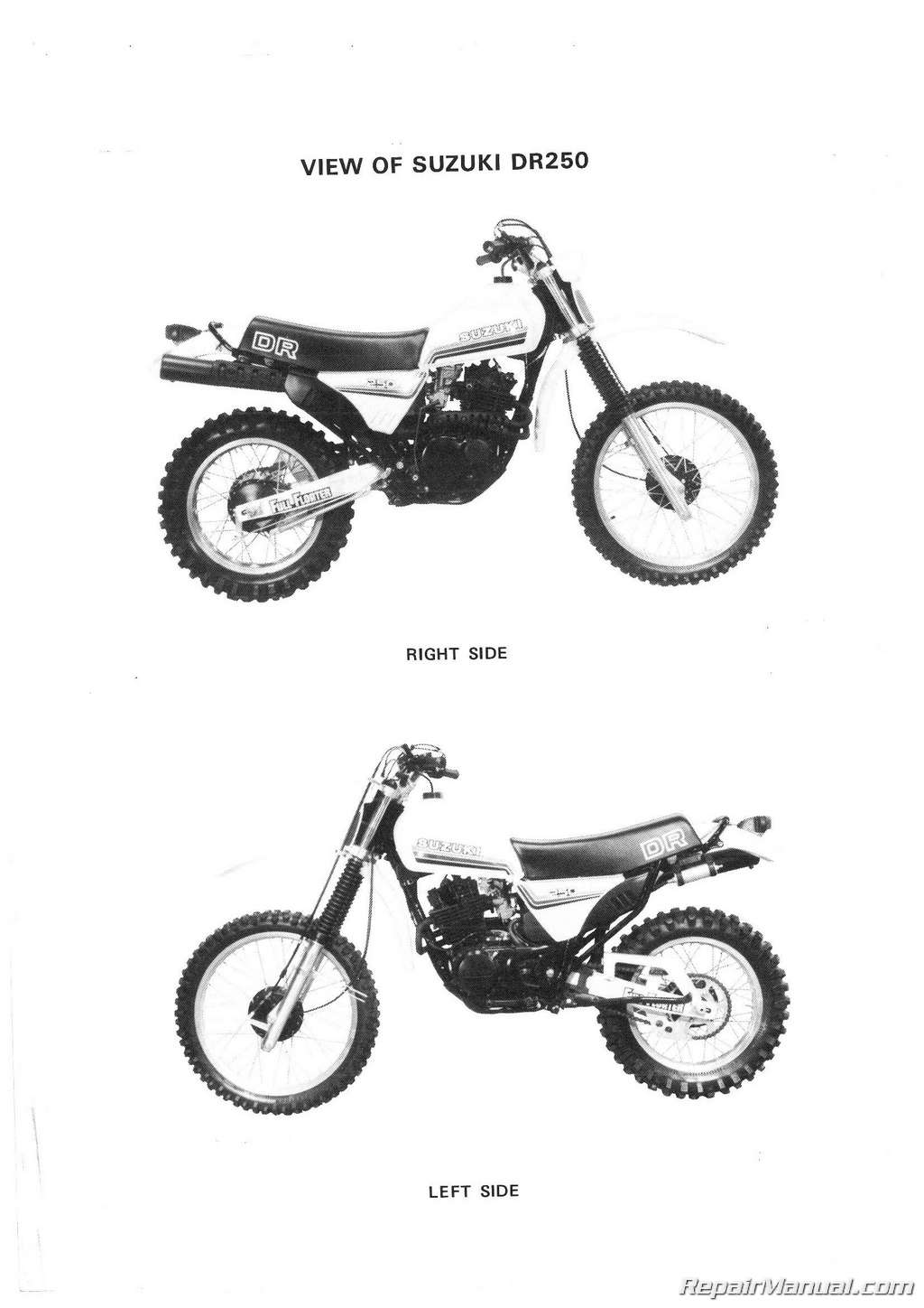 1982 1985 Suzuki Dr250 Sp250 Motorcycle Service Manual Rv 125 Wiring Diagram