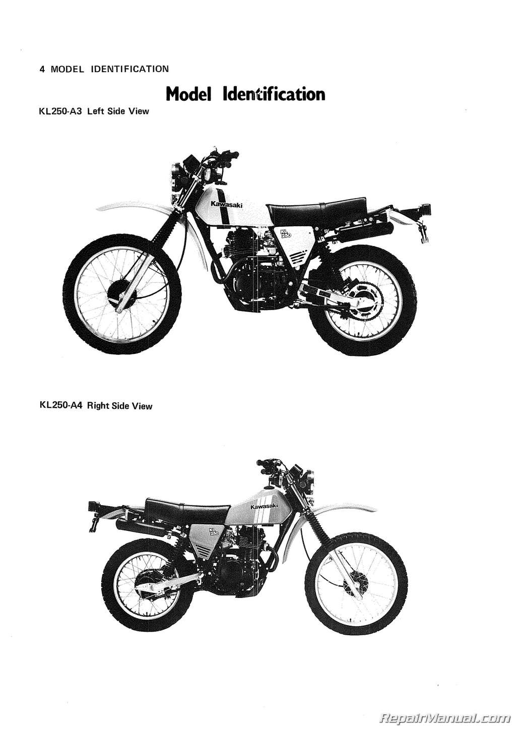 1982 kawasaki motorcycle kl250 owners manual