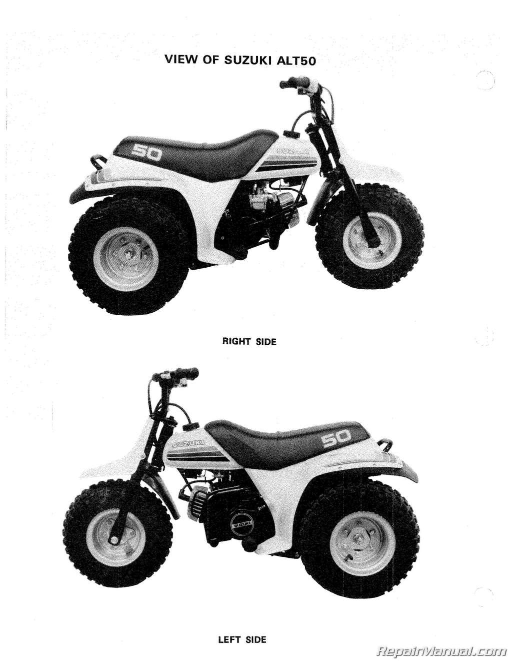 suzuki alt50 manual trailbuddy 1983 1984 rh repairmanual com 1985 Suzuki 50 Quad Graphics Suzuki RMX 50
